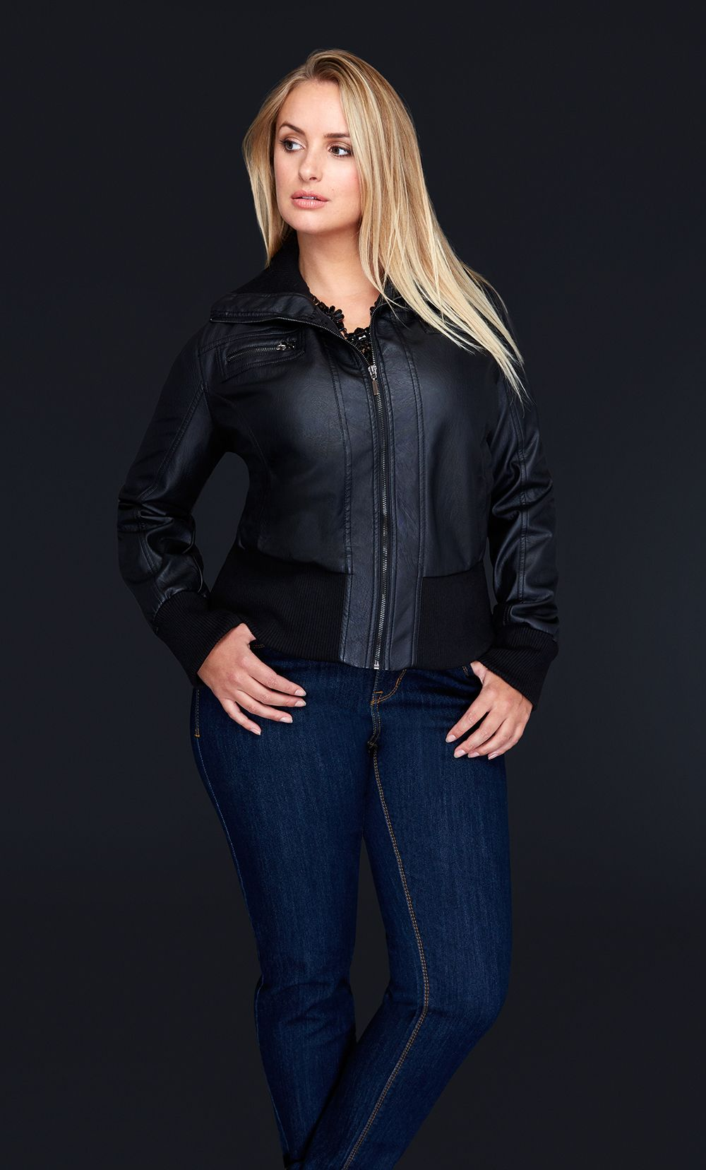 FauxLeather BomberJacket Faux leather bomber