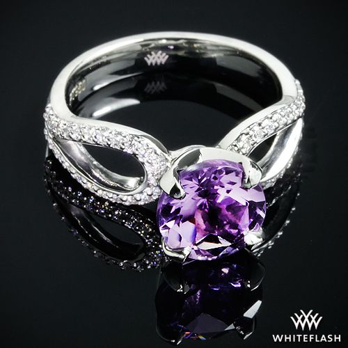 Purple Amethyst And Diamond Infinity Engagement Ring In Platinum