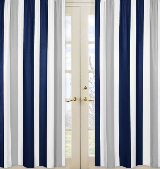 Modem White Navy Blue And Gray Stripe 84 Inch Curtains By