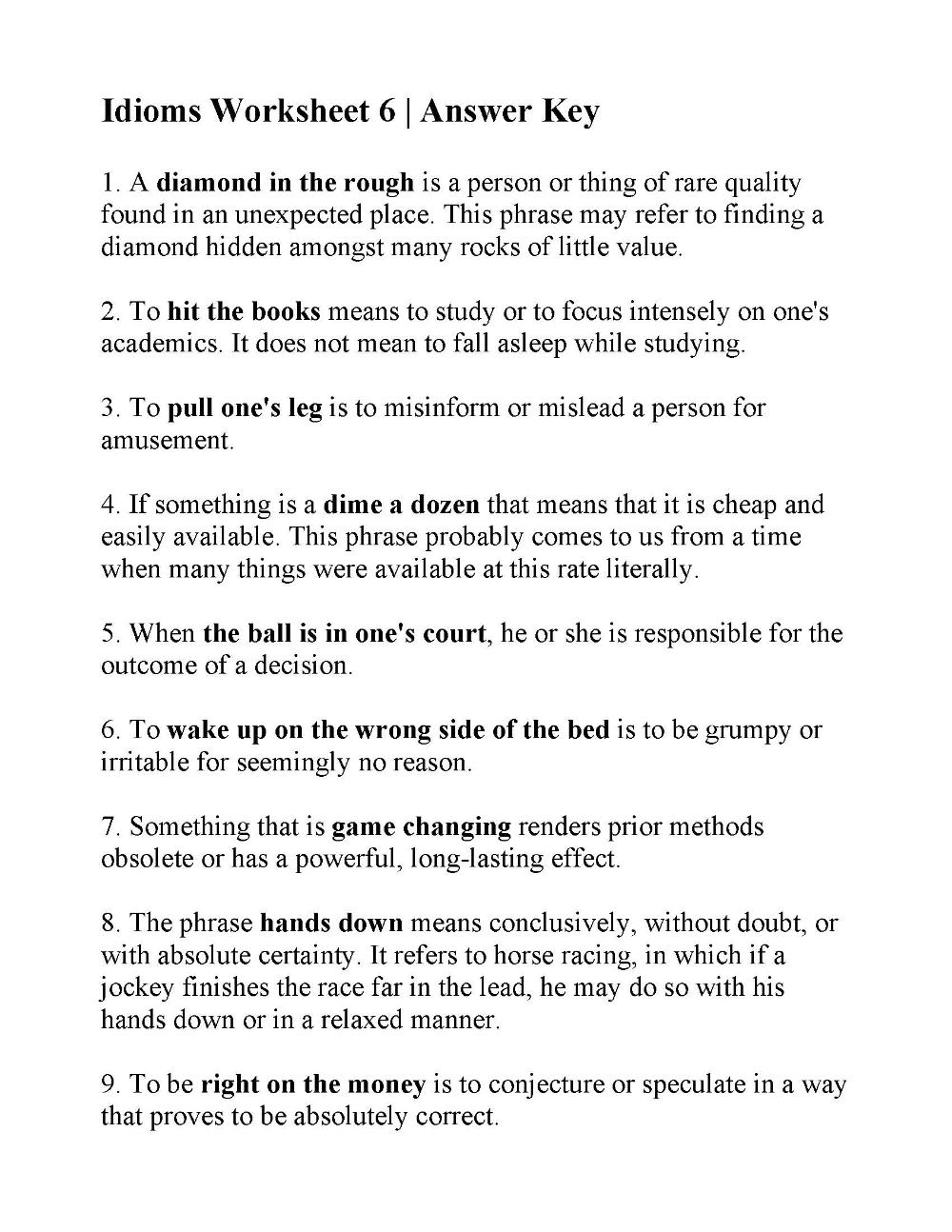 Idioms Worksheet 6 Answers Language Worksheets Worksheets For Kids Telling Time Worksheets [ 1294 x 1000 Pixel ]