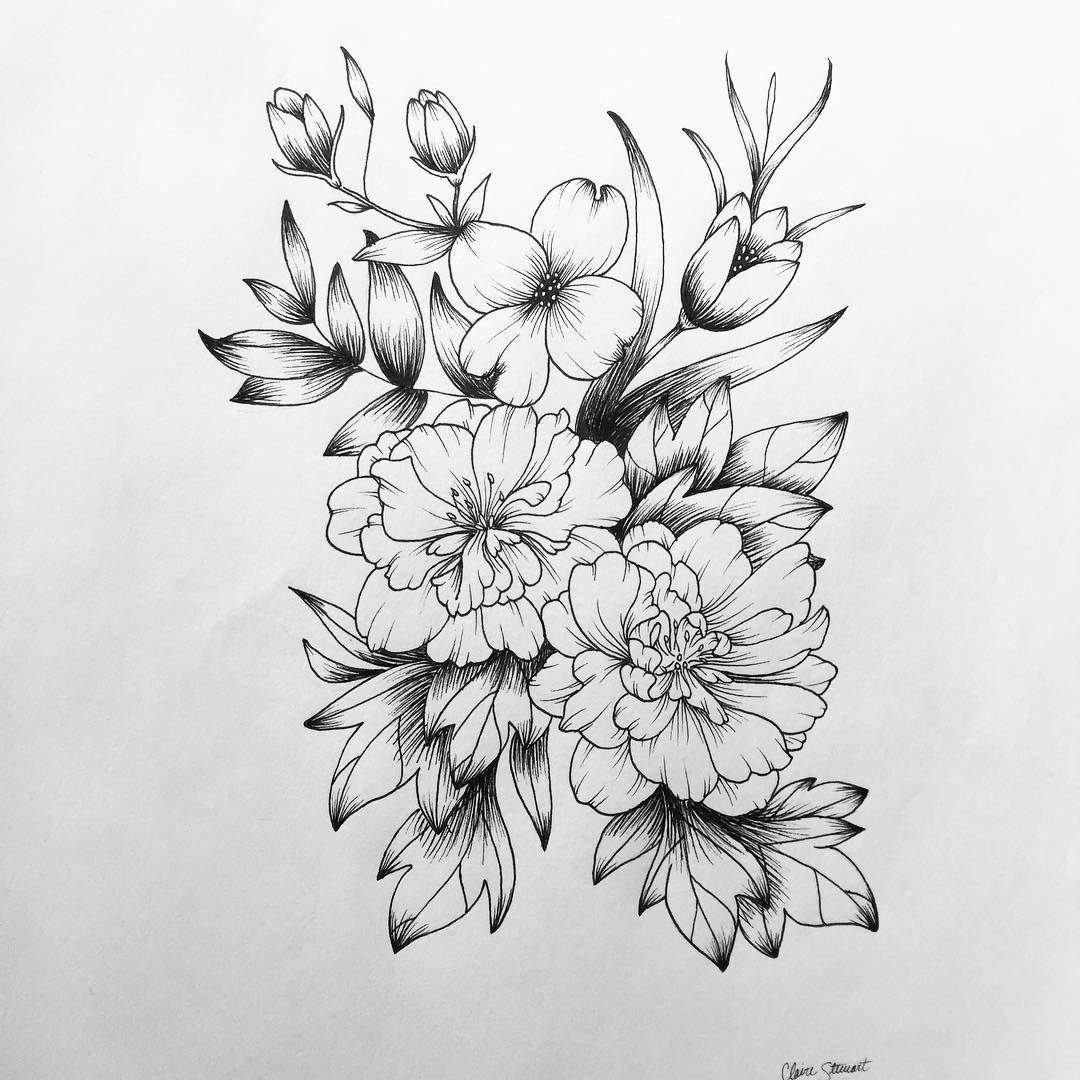 Dogwood and Azalea flowers drawing sketchbook pen art