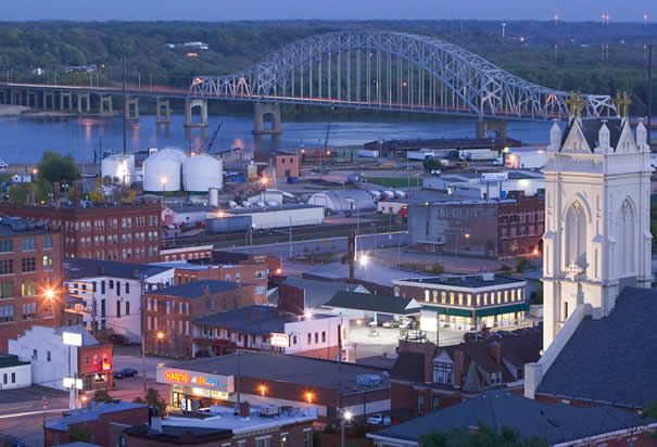 Mississippi River And Town Of Dubuque Iowa Dubuque Is A City In