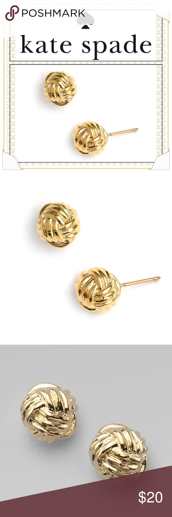 "3209fc42f Kate Spade ""Know the Ropes"" Stud Earrings Deftly knotted stud earrings  exude class in a high-polish finish. Post back. Approx. diameter: 1/4"