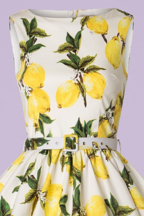 19c92594d07f5d 50s Audrey Lemon Swing Dress in White and Yellow in 2019 | Vintage ...