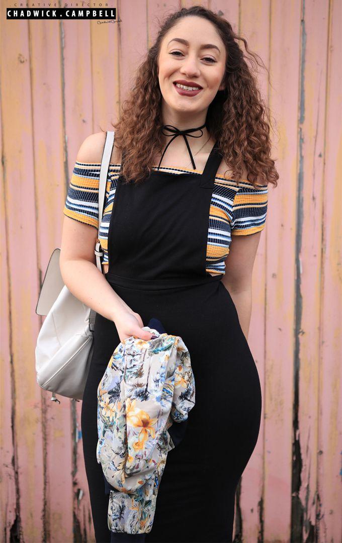 4e60b76647102a Laura s Lookbook Printed Bomber Jacket - Zara Bardot Crop Top - Zara  Dungaree Dress - Asos