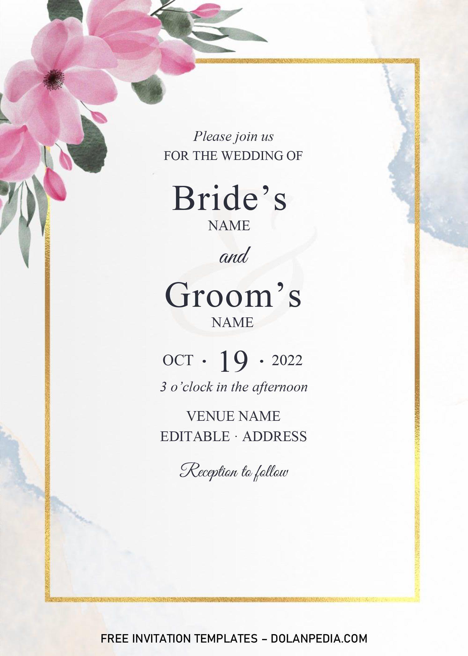 Golden Frame Wedding Invitation Templates Editable With Microsoft Word Frame Wedding Invitation Wedding Invitation Templates Invitation Template