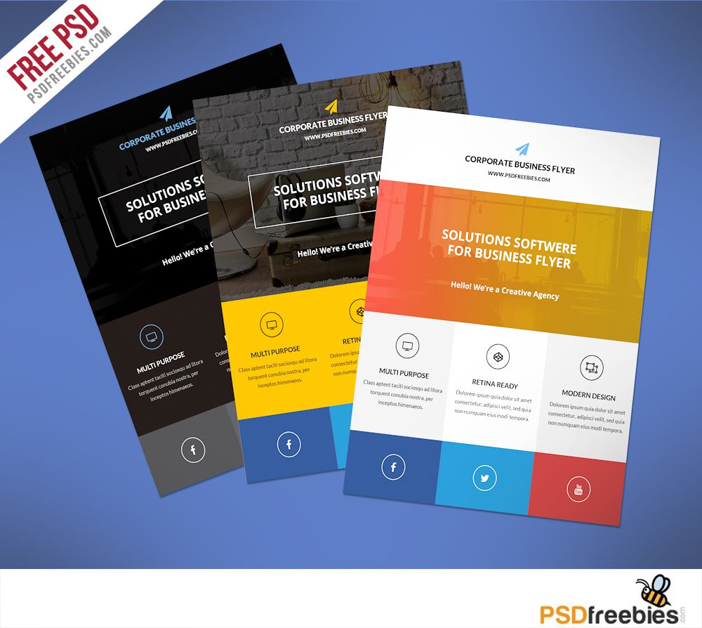 Flat Clean Corporate Business Flyer Free Psd Psdfreebies Com Free Brochure Template Free Flyer Templates Flyer Free