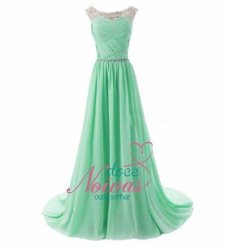 2667452f3 vestido festa madrinha formatura verde claro pronta entrega | Coisas ...