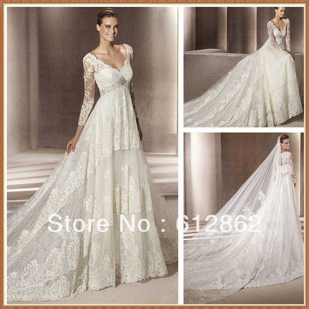 Long train empire waist long sleeve lace wedding dresses for Empire waist wedding dress with sleeves