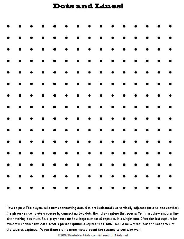 Play this game print out follow the directions This can be done – Dot Game Template