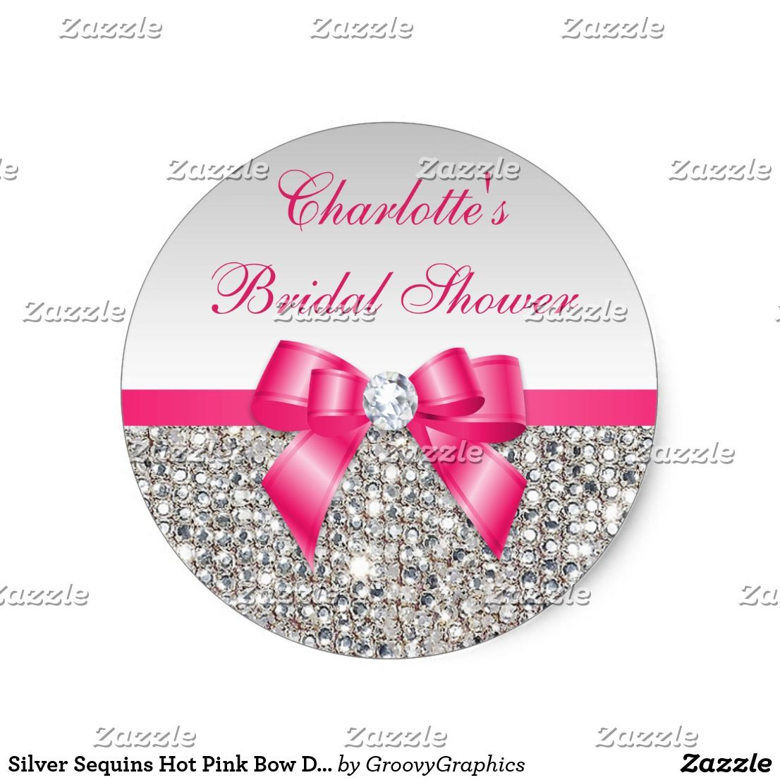 Silver Sequins Hot Pink Bow Diamond Bridal Shower Classic Round ...