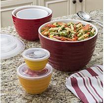 10-PC Ceramic Multi-Purpose Bowl Set with Vented Lids- Warm