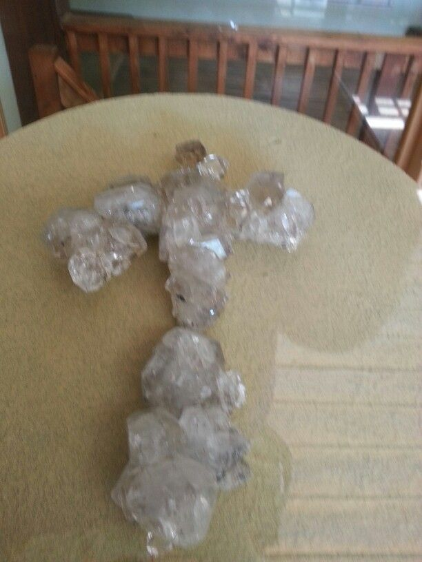 Crystal crucifix -Herkimer NY Diamond Mine Museum