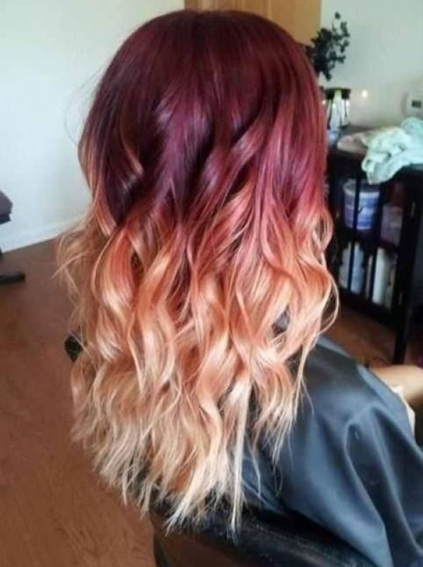 Burgundy And Blonde Hair Color Ideas Burgundy And Blonde Highlights Burgundy And Blonde Highlights Total Hairsty Ombre Hair Blonde Red Ombre Hair Hair Styles