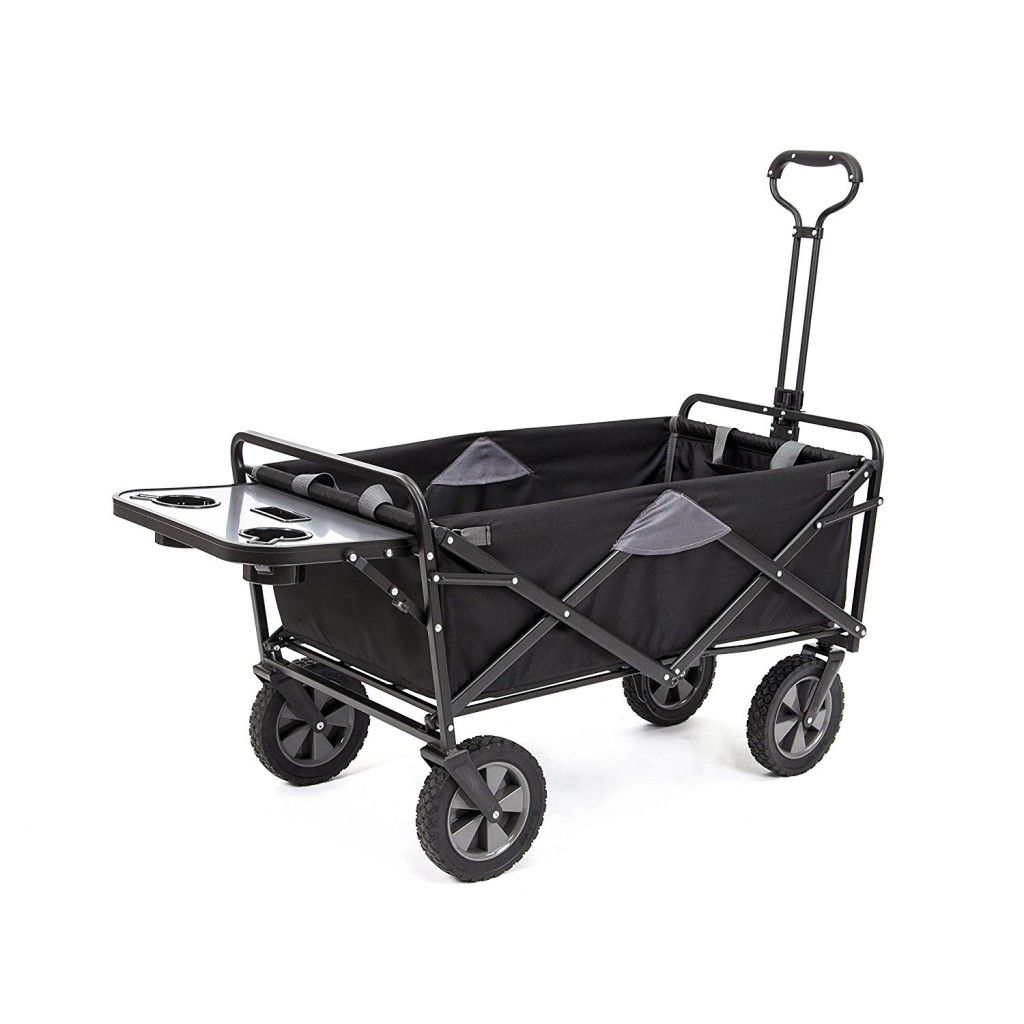 Mac Sports Collapsible Folding Outdoor Utility Wagon Utility Wagon Black Side Table Outdoor Cart