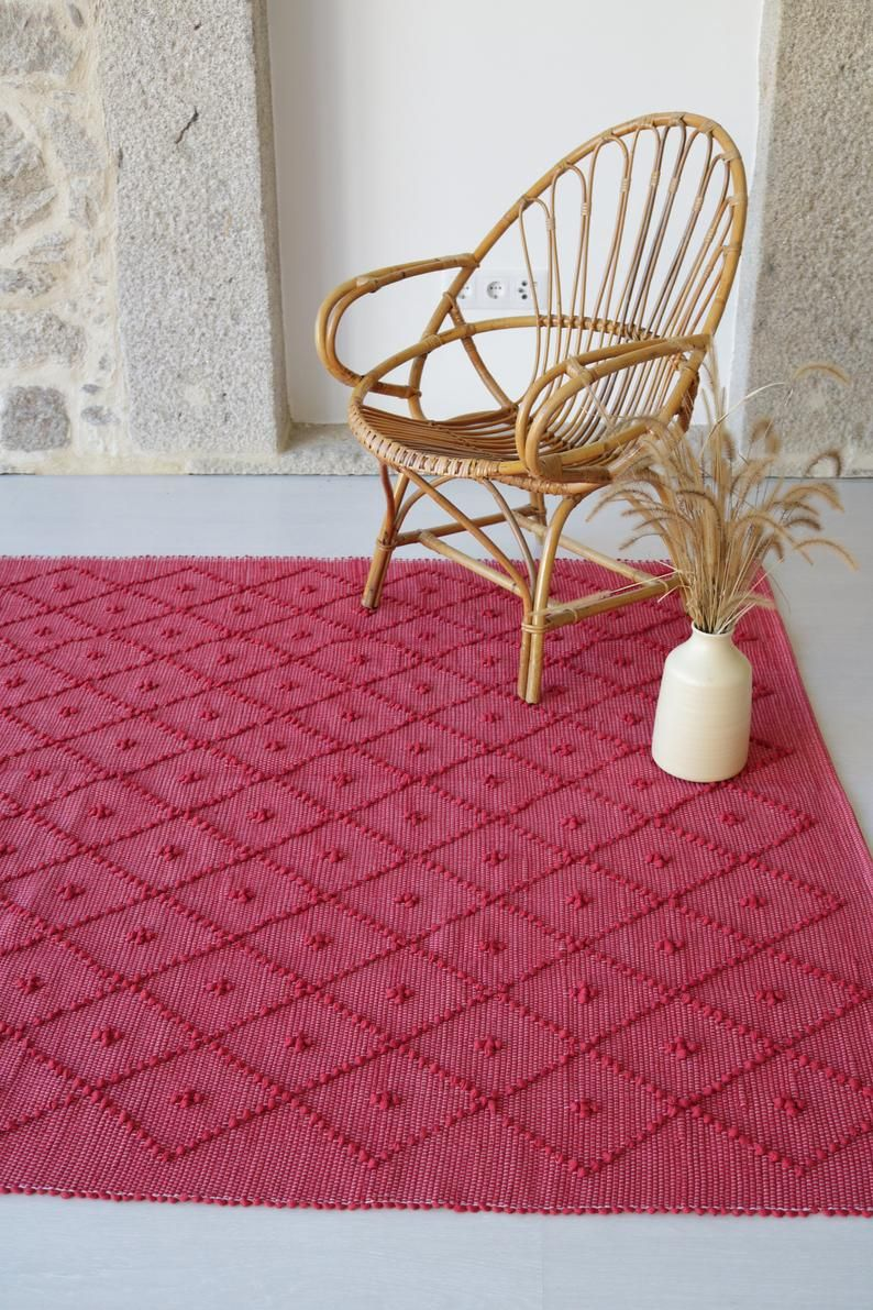 Large woven rug, red rug, geometric rug, throw rug, cotton