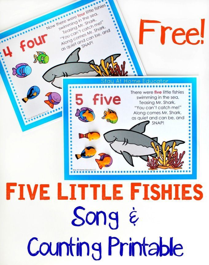 FREE Five Little Fishies Song and Counting Printable