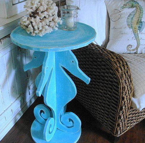 Seahorse Side Table Night Table Beach House Decor by CastawaysHall