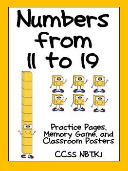 Numbers To 11 To 19 Kindergarten Base Ten Nbt K 1 Math Teens
