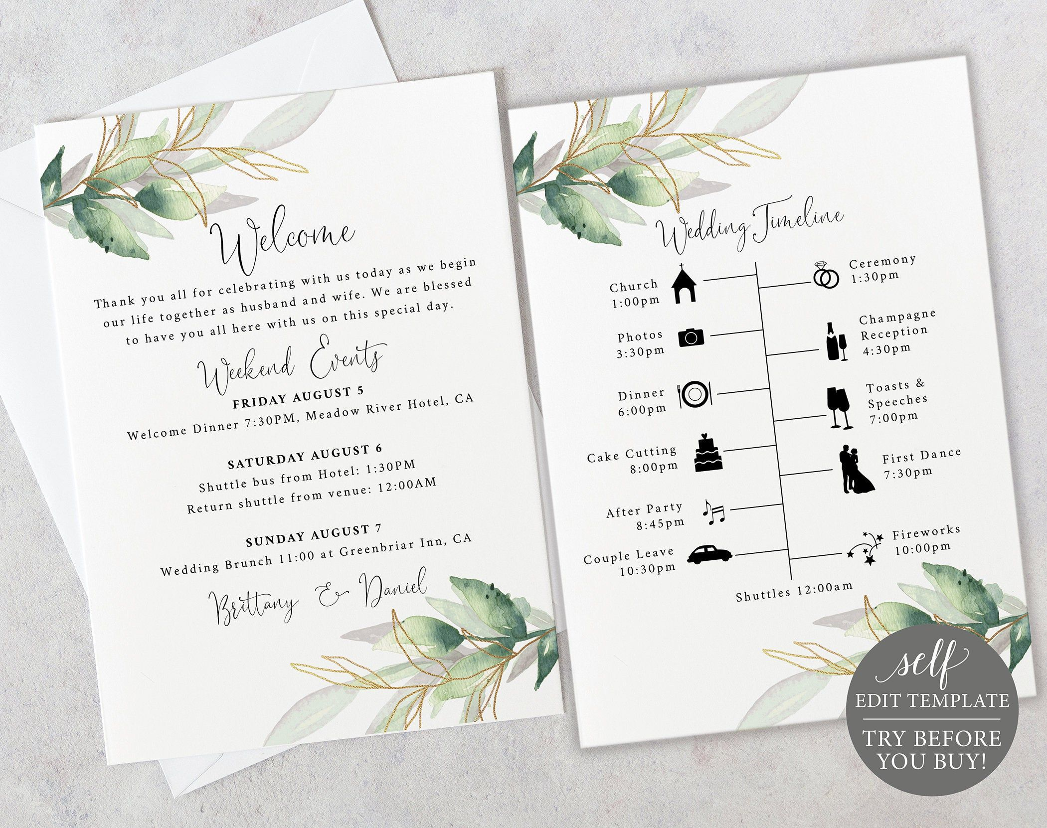 Wedding Timeline Card Template Editable Printable Instant Download Demo Available Gre Wedding Timeline Wedding Invitations Printable Templates Card Template