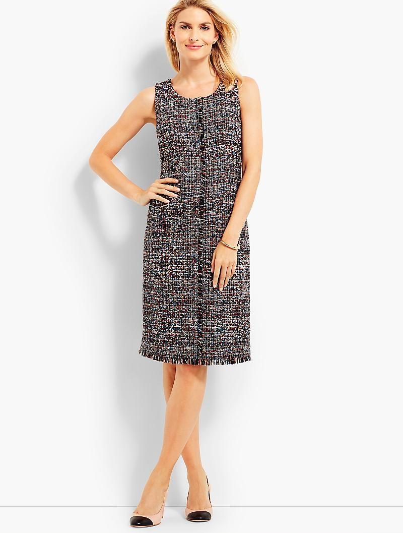Fringed Festive Tweed Sheath Talbots Stylish Fashion Fashion Mom Dress [ 1057 x 800 Pixel ]