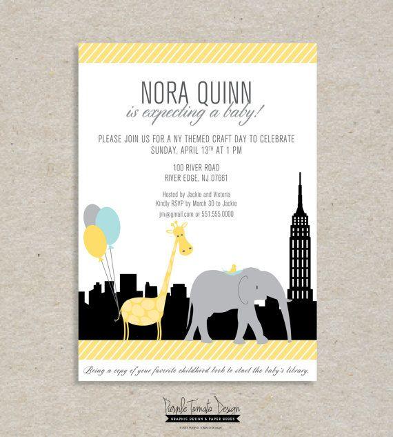 Printable Baby Shower Invitation New York Theme Girl Baby Shower