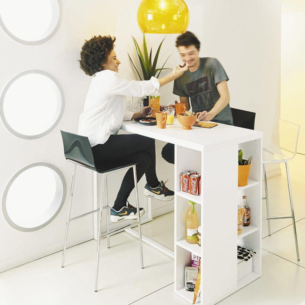 Tavolo alto bianco satinato per sala da pranzo in legno L 120 cm ...