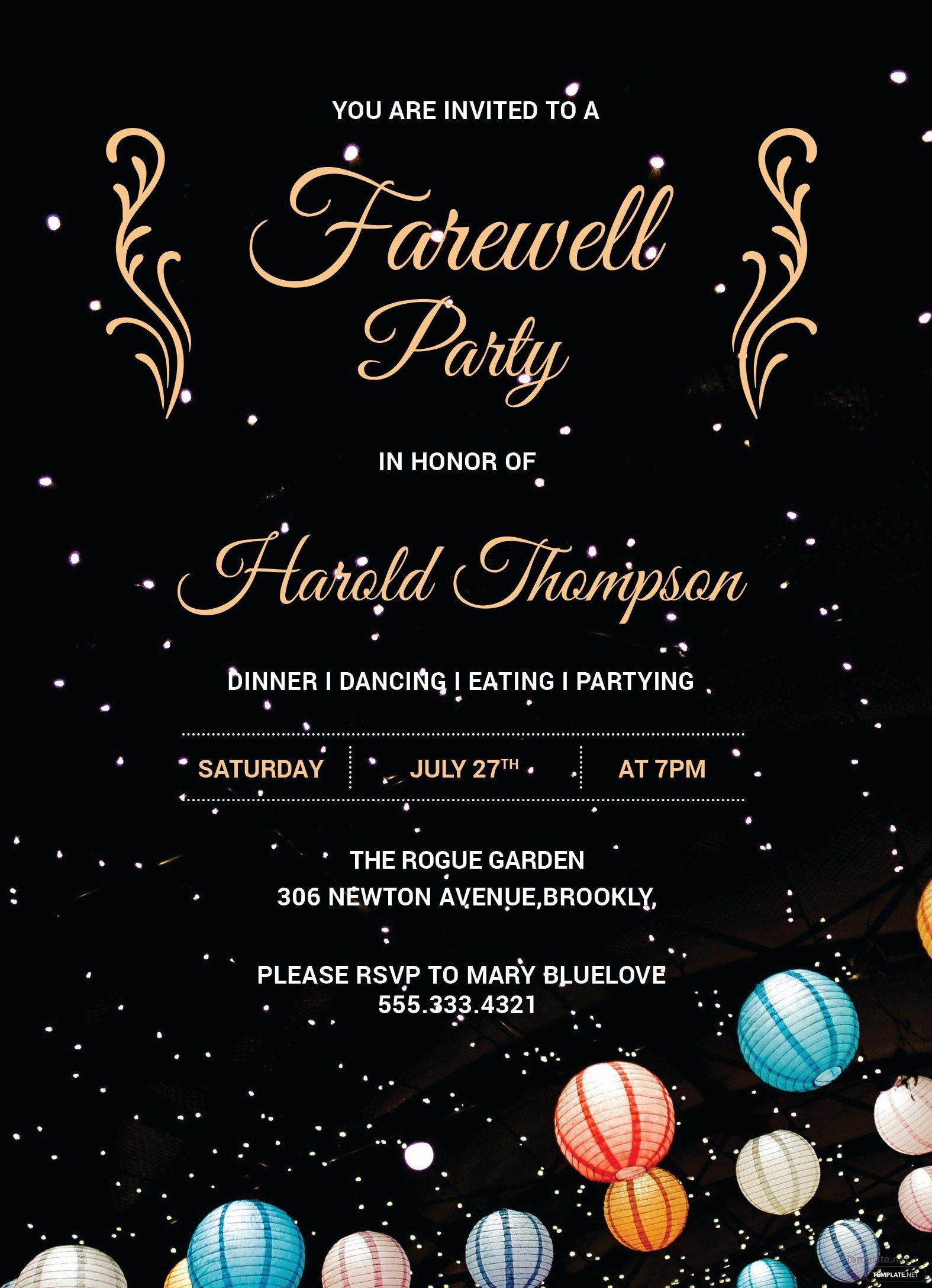 Free Farewell Invitation Template Unique Free Farewell Party Invitation Template In A Party Invite Template Farewell Invitation Card Farewell Party Invitations