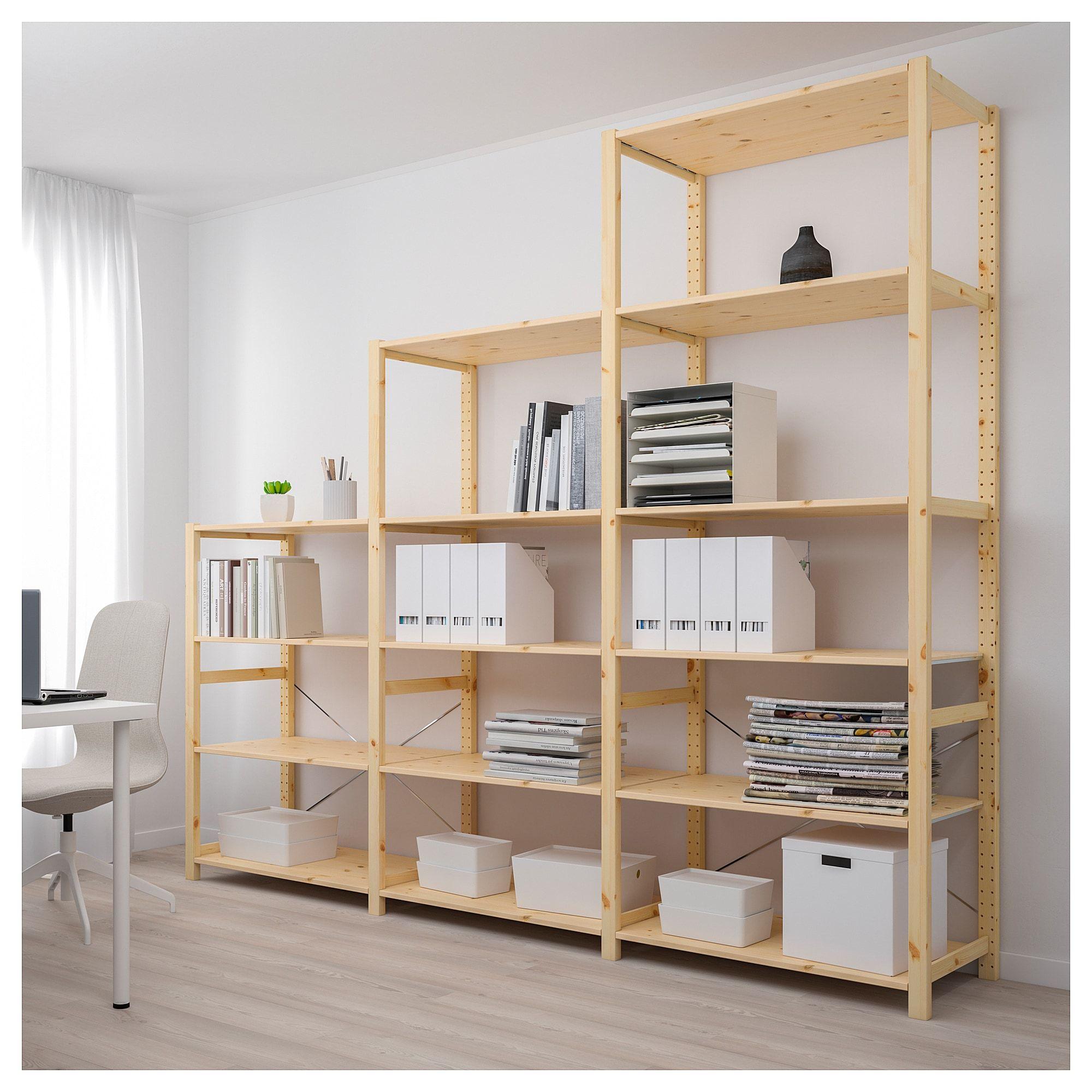 Ivar Pine 3 Sections Shelves 259 X50 X226 Cm Ikea Shelving Unit Ikea Ivar Ikea Wall Shelves