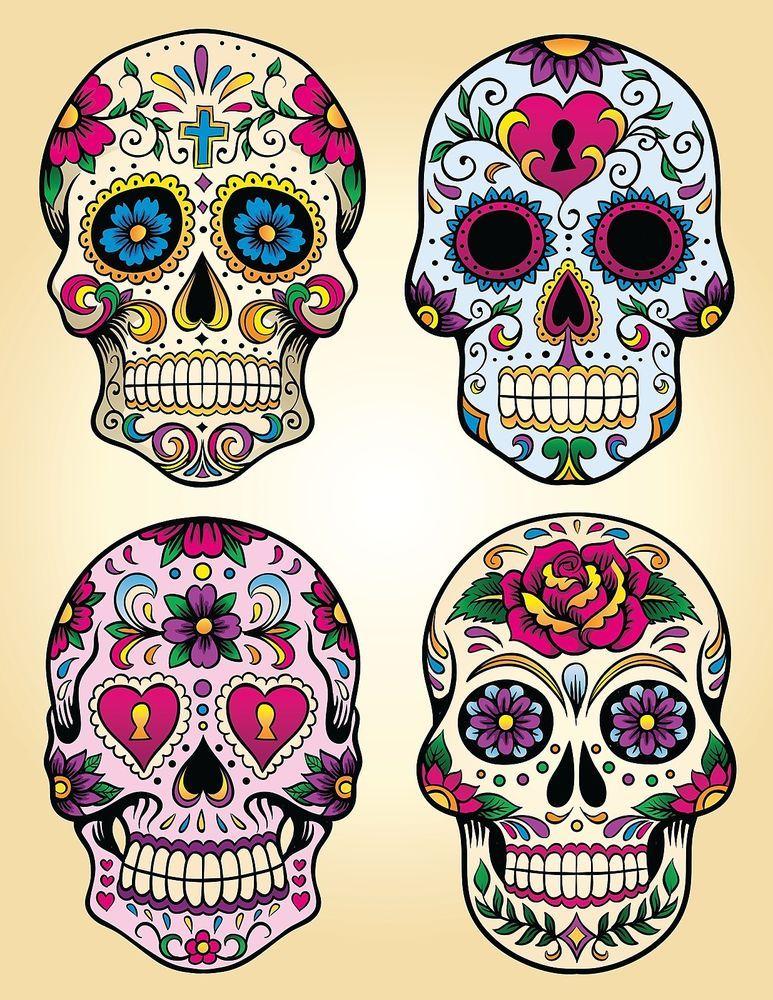 Candy Sugar Skull Day Of The Dead Decal Vinyl Sticker Color 4 Designs 5 Sizes Sugar Skull Tattoos Skull Skull Tattoos