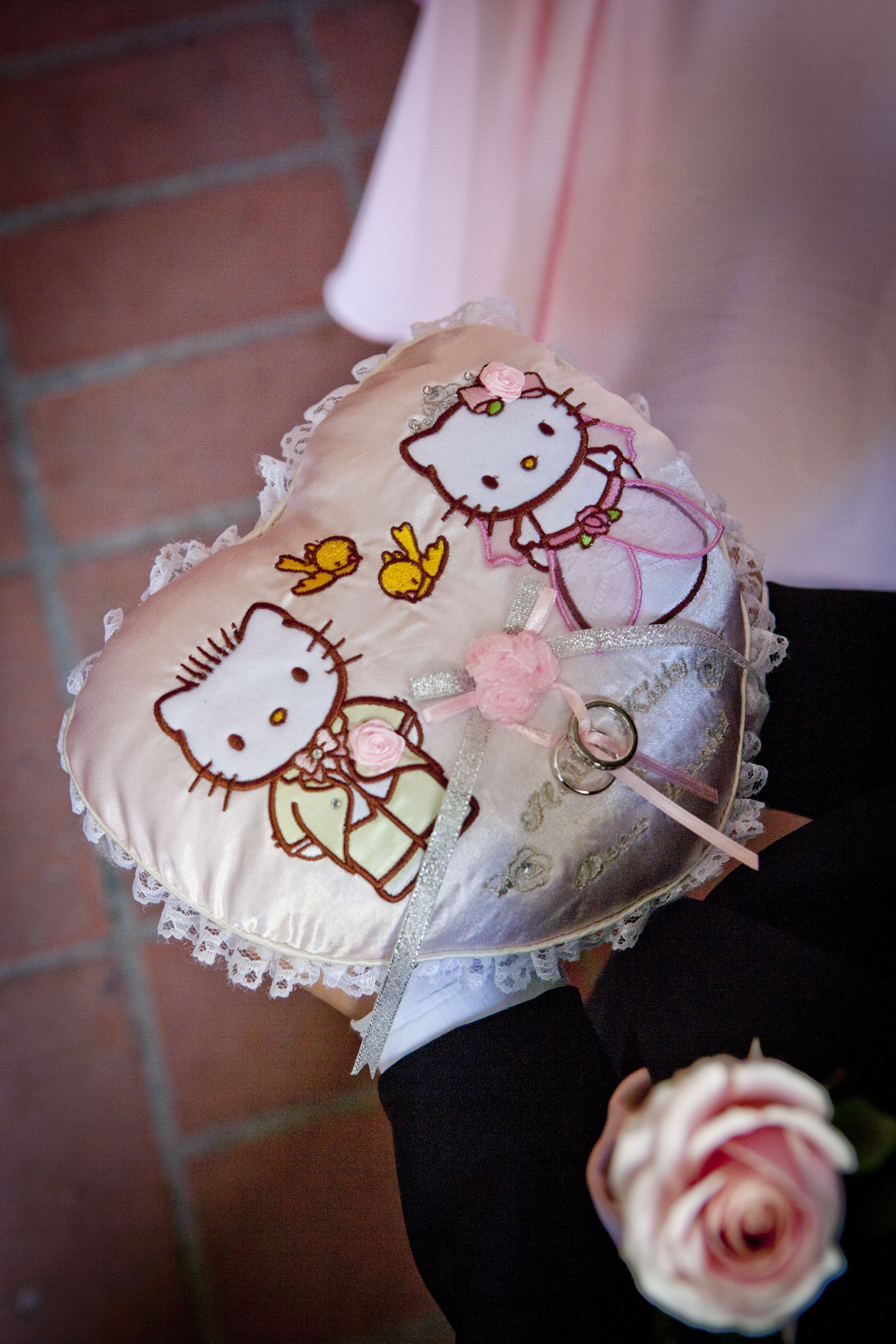 our hello kitty themed wedding the ring pillow