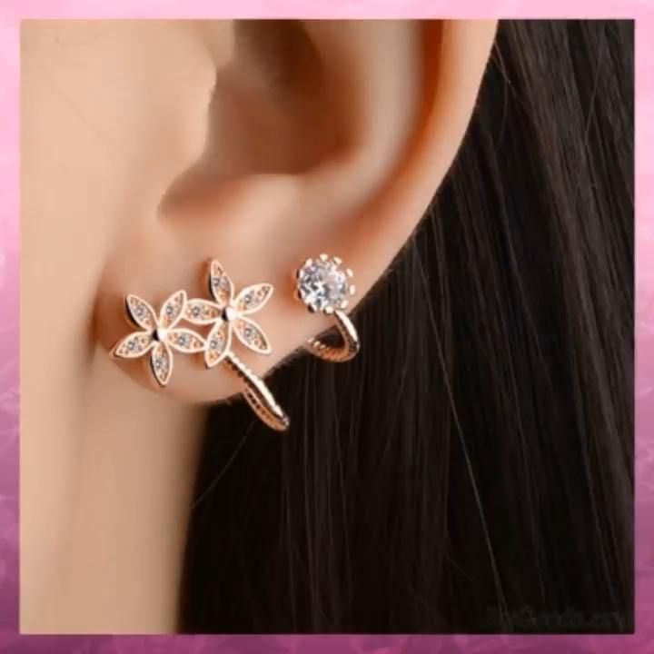 Photo of Fashion Women's Heart Flower Helix Diamond Ear Clips Earrings Studs