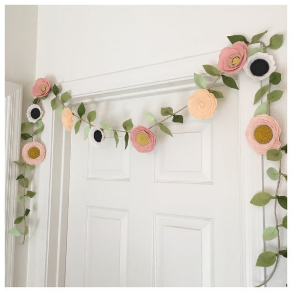 Photo of BLUSH GARLAND // Felt Flower Garland // Floral Garland // Party Garland // Poppies + Roses + Anemones // Blush + Peach + Nude