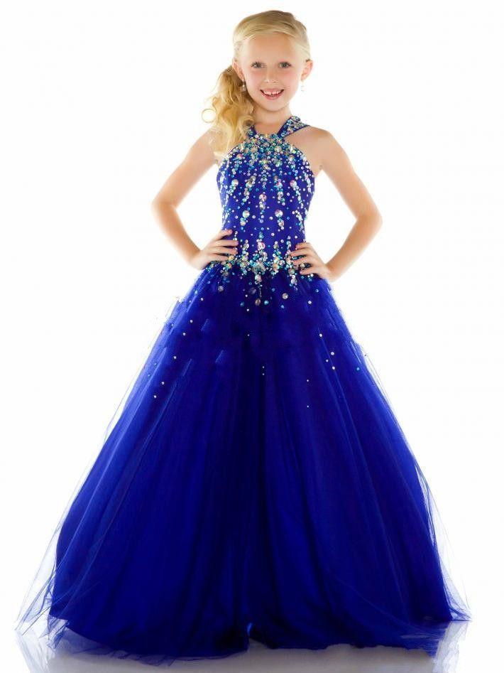2015 nuevo Tulle azul real barato Beauty Pageant vestidos para las ...