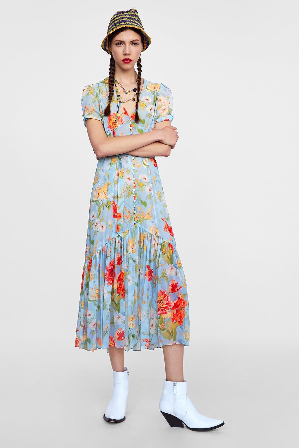 Image 1 of MIDI FLORAL PRINT DRESS from Zara  540d591036c