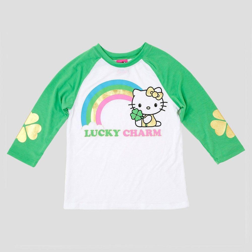 909c5ba1d Girls' Hello Kitty St. Patrick's 3/4 Length Sleeve Raglan T-Shirt - White  M, Girl's