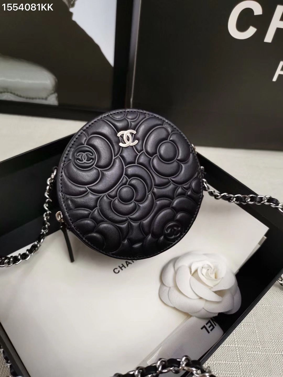 Chanel Cc Woman Camellia Flower Leather Round Box Case Chain