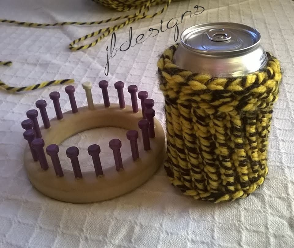Loom Knit Easy Can Bottle Cup Cozy Koozie | Dawn\'s favorite. | Pinterest