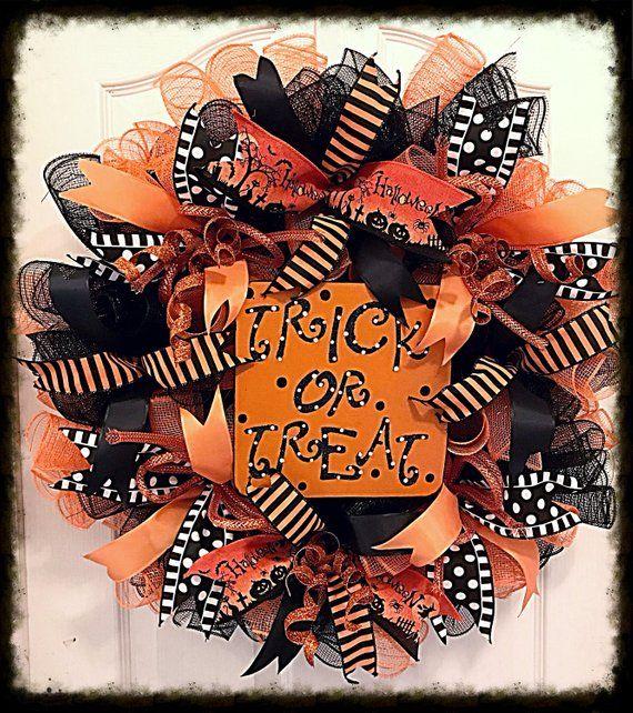 Photo of Trick or Treat deco mesh wreath/Halloween wreath/Happy Halloween wreath/Fall wreath/Orange and Black Halloween wreath