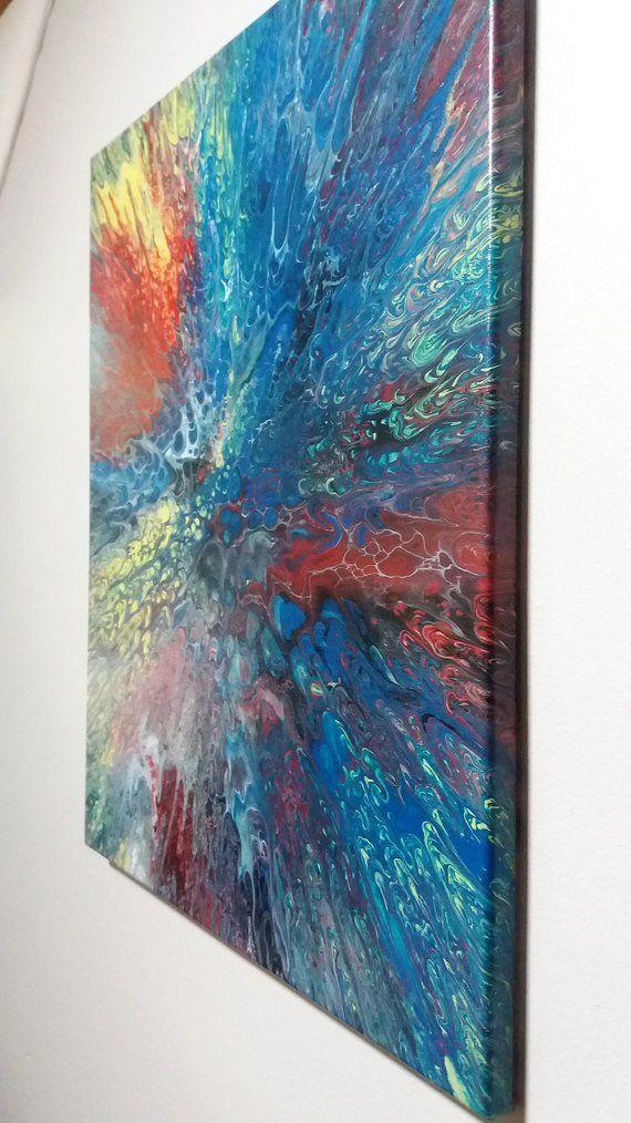 acrylic flow painting 16x20 superman original wall decor in 2018 rh pinterest com