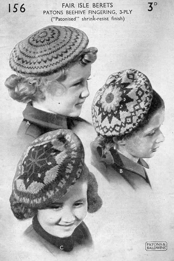 1930s fair isle berets childrens knitting pattern pdf by tinpotlil ...
