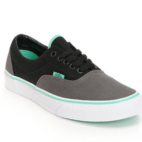 vans era charcoal black & mint green skate shoes