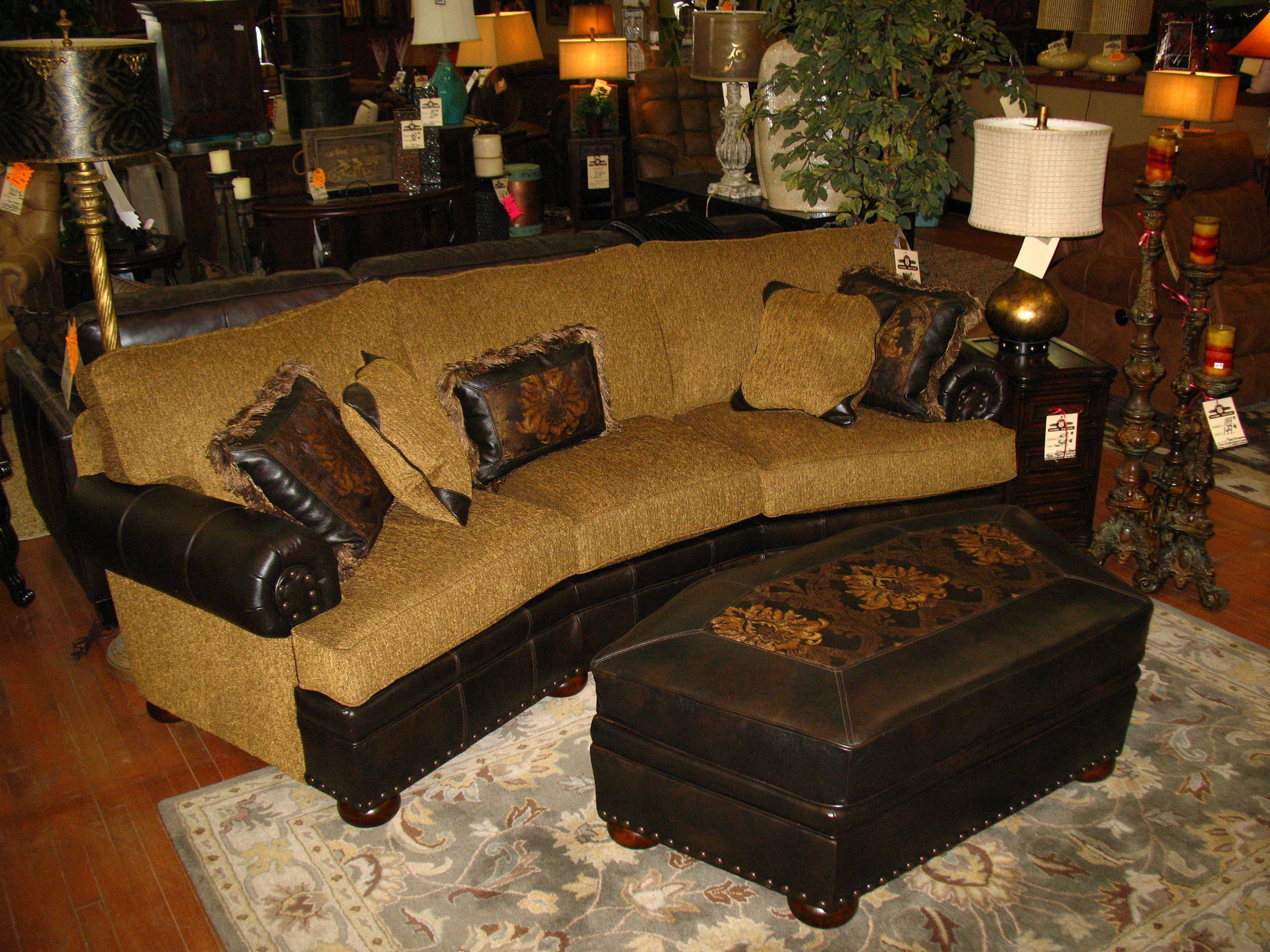 mayo conversation sofa with coordinating ottaman leather fabric