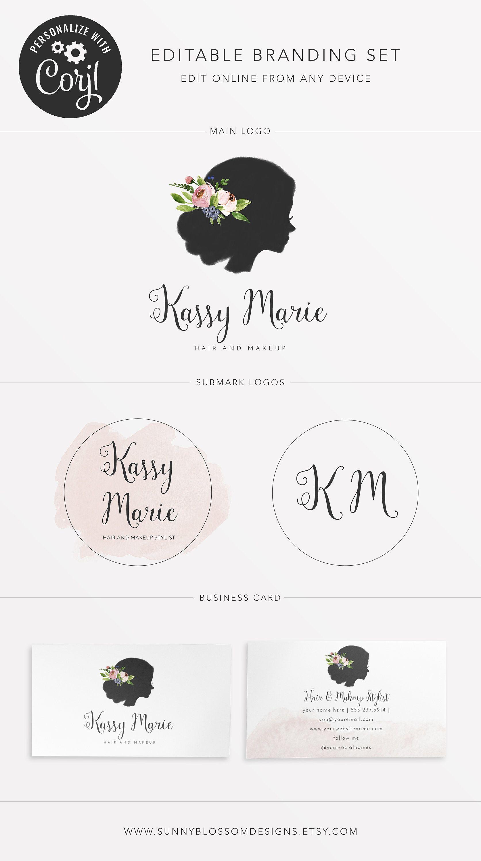Editable Hair & Beauty Branding Set Template Editable Logo