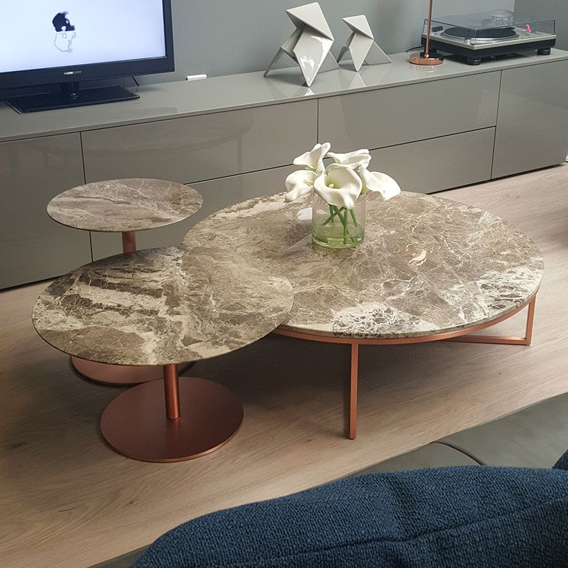 Exdisplay portoopera set of 3 marble tables perfetto