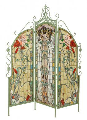 An art nouveau style leaded glass three-panel floor