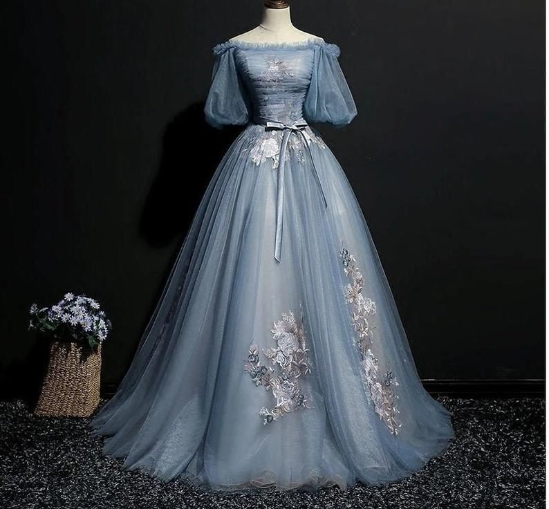 Light ash blue vintage Cosplay ball gown medieval