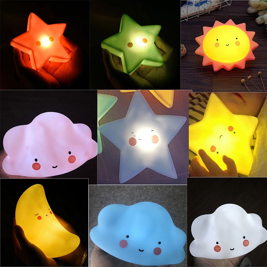 Ins Nuvem Novidade Sorriso Rosto Led Night Light Sun Moon Estrela Da Noite Lampadas Quarto Bercario Mini Lampadas Caco Commercial Lighting Novelty Lamp Novelty