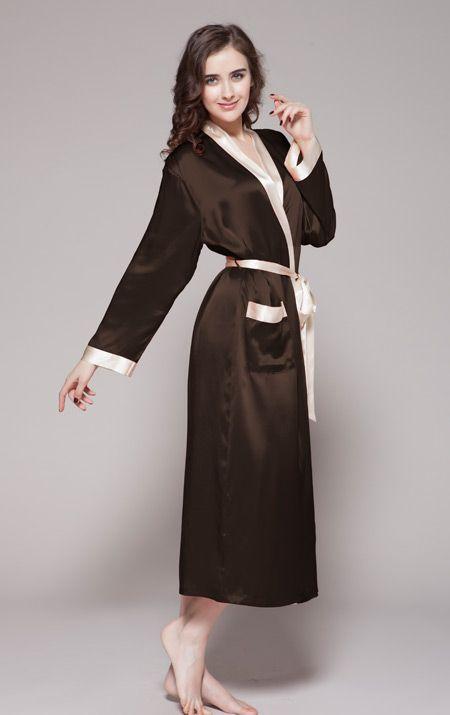 Sexy Chambre En Soie Chocolat Robe Pyjama Pour De Femme 84qn6