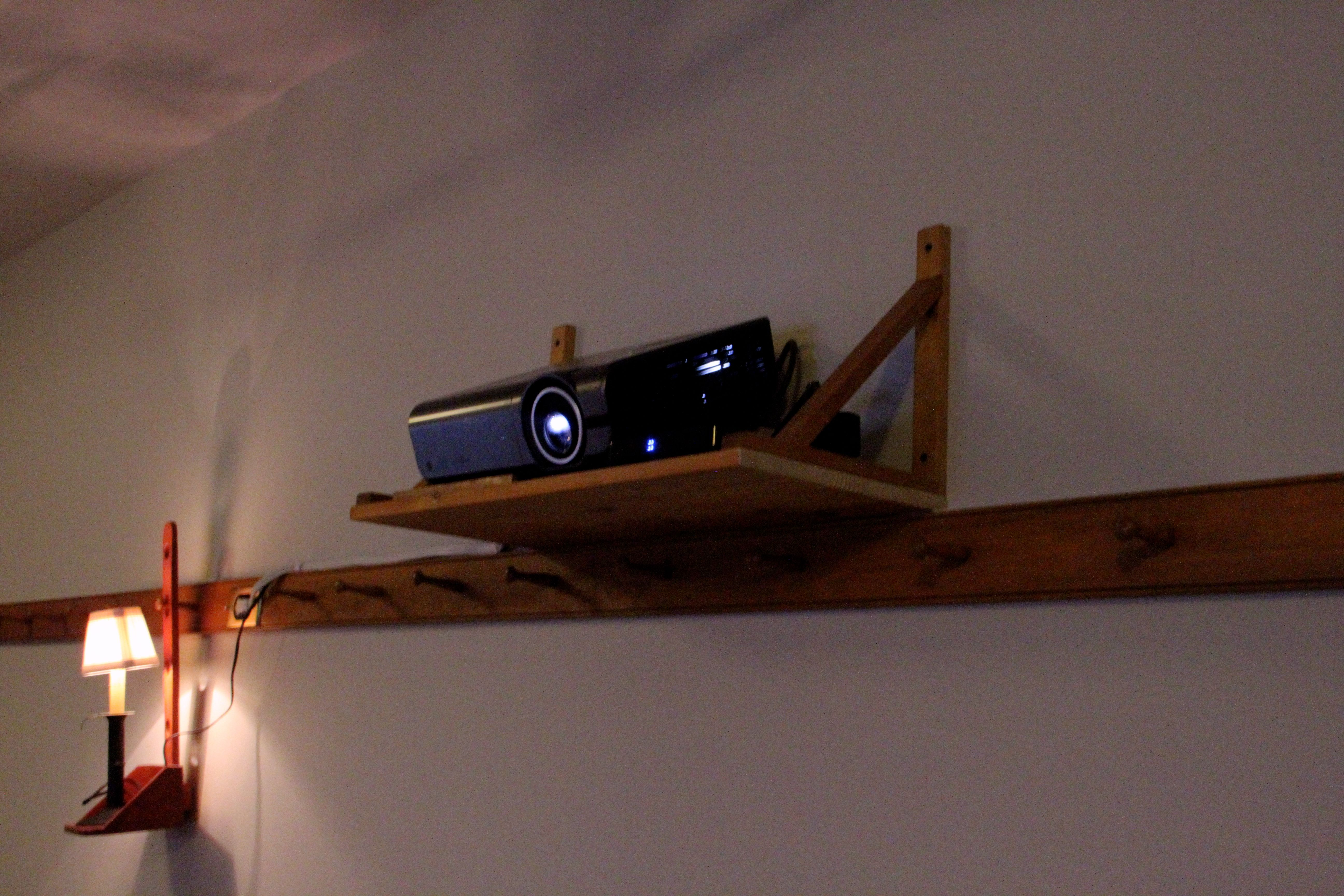 Projector in shelf, ikea brackets, optoma arts and
